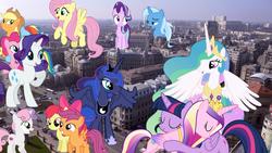 Size: 1920x1080 | Tagged: safe, artist:90sigma, artist:cloudyglow, artist:dashiesparkle, artist:deratrox, artist:hendro107, artist:logan859, artist:reginault, artist:slb94, apple bloom, applejack, fluttershy, pinkie pie, princess cadance, princess celestia, princess luna, rainbow dash, rarity, scootaloo, starlight glimmer, sweetie belle, trixie, twilight sparkle, alicorn, pony, bucharest, cutie mark crusaders, giant pony, highrise ponies, irl, macro, mane six, photo, ponies in real life, romania, twilight sparkle (alicorn)