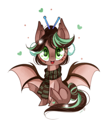Size: 850x989 | Tagged: safe, artist:ipun, oc, oc only, oc:cocoa dot, bat pony, pony, clothes, female, heart, heart eyes, mare, scarf, simple background, sitting, solo, transparent background, wingding eyes