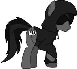 Size: 1281x1138 | Tagged: safe, artist:lightningbolt, derpibooru exclusive, earth pony, pony, .svg available, clothes, frown, grayscale, hidden eyes, hood, hoodie, male, monochrome, ponified, raised hoof, shadow, simple background, solo, stallion, svg, todd in the shadows, transparent background, vector, zipper