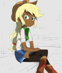 Size: 561x654 | Tagged: applejack, artist:baekgup, clothes, colored, dark skin, edit, editor:rmzero, equestria girls, hat, human coloration, pantyhose, safe, sitting, solo