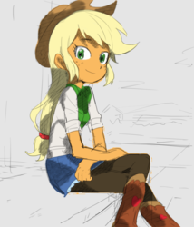Size: 561x654 | Tagged: applejack, artist:baekgup, boots, clothes, colored, cowboy boots, cowboy hat, edit, editor:rmzero, equestria girls, hat, pantyhose, safe, sitting, solo