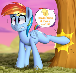 Size: 3462x3345 | Tagged: safe, artist:january3rd, applejack, rainbow dash, pegasus, pony, applebucking, dialogue, duo, duo female, female, grass, kicking, mare, offscreen character, pain, sweet apple acres, tree