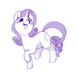 Size: 1280x1280 | Tagged: safe, artist:dimfann, rarity, pony, behaving like a dog, cute, looking at you, monochrome, open mouth, raised hoof, rarara, raridog, silly, silly pony, simple background, smiling, solo, tongue out, white background