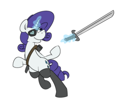 Size: 2256x1814 | Tagged: alternate universe, artist:cowsrtasty, clothes, eyepatch, magic, rarity, safe, simple background, socks, solo, sword, sword rara, transparent background, weapon