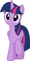Size: 534x1080 | Tagged: safe, artist:iknowpony, twilight sparkle, alicorn, pony, a hearth's warming tail, .svg available, female, folded wings, grin, hooves, horn, looking at you, mare, raised hoof, simple background, smiling, solo, transparent background, twilight sparkle (alicorn), vector, wings