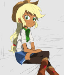 Size: 561x654 | Tagged: applejack, artist:baekgup, boots, clothes, colored, cowboy boots, cowboy hat, cute, dark skin, denim skirt, edit, editor:rmzero, equestria girls, food, hat, jackabetes, pantyhose, safe, sitting, skirt, solo