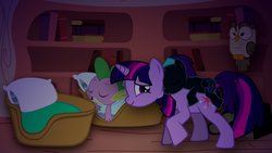 Size: 1600x900 | Tagged: safe, artist:alexlayer, owlowiscious, spike, twilight sparkle, oc, oc:nyx, alicorn, dragon, pony, unicorn, fanfic:past sins, alicorn oc, cute, mama twilight, mother and daughter, nyx riding twilight, ponies riding ponies, riding, sleeping, smiling, sneaking