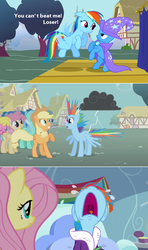 Size: 1280x2168 | Tagged: safe, edit, edited screencap, screencap, applejack, fluttershy, lyra heartstrings, rainbow dash, trixie, pony, unicorn, boast busters, tanks for the memories, cape, caption, clothes, crying, female, hat, mare, nose in the air, screencap comic, stormcloud, trixie's cape, trixie's hat, volumetric mouth