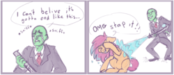 Size: 776x335 | Tagged: safe, artist:purple-blep, scootaloo, oc, oc:anon, human, pegasus, pony, 4chan, bait and switch, comic, covering face, crying, cute, cutealoo, eyes closed, female, filly, floppy ears, frown, grin, gritted teeth, male, mare, older, playing, raised hoof, scootalove, simple background, sketch, smiling, smirk, stahp, underhoof, watergun, wet, wet mane, white background, wingless