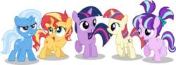Size: 10000x3667 | Tagged: absurd res, artist:limedazzle, counterparts, cute, dancerbetes, diatrixes, filly, filly moondancer, filly starlight, filly sunset, filly trixie, filly twilight sparkle, glimmerbetes, hnnng, magical quartet, magical quintet, magical trio, moondancer, open mouth, pony, safe, shimmerbetes, simple background, smiling, starlight glimmer, sunset shimmer, transparent background, trixie, twiabetes, twilight's counterparts, twilight sparkle, unicorn, vector, younger
