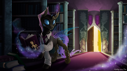 Size: 1731x974   Tagged: safe, artist:arctic-fox, oc, oc only, oc:phobos, changeling, book, bookshelf, changeling magic, changeling oc, clothes, commission, crystal, door, library, magic, male, purple changeling, solo