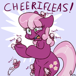 Size: 800x800 | Tagged: safe, artist:skoon, cheerilee, earth pony, pony, oh dat cheerilee, :3, bipedal, cheeribetes, chest fluff, climbing, cute, dialogue, eye clipping through hair, eye twitch, eyes closed, female, fleas, floppy ears, fluffy, frown, glare, jumping, mare, micro, multeity, nom, open mouth, parasite, pointing, pun, self paradox, self ponidox, smiling, solo focus, story in the comments, tiny ponies, underhoof, visual pun, wat, wide eyes, x3