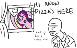 Size: 622x392 | Tagged: safe, artist:jargon scott, princess cadance, oc, oc:anon, human, cadance's pizza delivery, cute, food, frown, grumpy, hi anon, hoof hold, open mouth, peetzer, pizza, pizza delivery, smiling, unamused, window