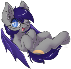 Size: 1865x1827   Tagged: safe, artist:sapphfyr, oc, oc only, oc:moondew, bat pony, pony, cheek fluff, chest fluff, colored pupils, cute, ear fluff, ear piercing, earring, fluffy, gauges, glasses, jewelry, lip piercing, looking at you, nose piercing, on back, one eye closed, piercing, simple background, snake bites, solo, tongue piercing, transparent background, wink