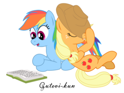 Size: 2500x1875 | Tagged: safe, artist:gutovi, applejack, rainbow dash, appledash, book, commission, cowboy hat, crossed hooves, eyes closed, female, hat, hat tip, lesbian, open mouth, reading, shipping, simple background, stetson, transparent background