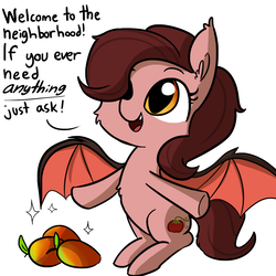 Size: 1080x1080 | Tagged: safe, artist:tjpones, oc, oc only, bat pony, pony, cheek fluff, chest fluff, cute, dialogue, fangs, female, food, hair over one eye, looking up, mango, mare, ocbetes, open mouth, simple background, sitting, smiling, solo, sparkles, spread wings, text, tomato, underhoof, white background, wings
