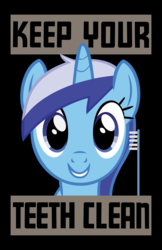Size: 1089x1683 | Tagged: safe, artist:thewastelandtrader, minuette, pony, unicorn, fallout equestria, blue eyes, brushie, looking at you, poster, solo, text, toothbrush, vector