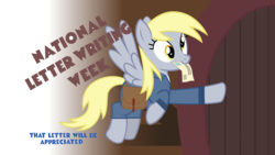 Size: 1920x1080 | Tagged: safe, artist:thewastelandtrader, derpy hooves, ditzy doo, pegasus, pony, fallout equestria, gradient background, letter, mailbag, mailmare, outfit, saddle bag, solo, text