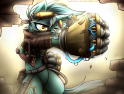 Size: 1024x778 | Tagged: safe, artist:jadekettu, lyra heartstrings, pony, semi-anthro, unicorn, belly button, bipedal, broken, clothes, colored pupils, fist, hand, mechanical hands, power fist, solo, that pony sure does love hands, wall