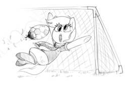 Size: 1231x838 | Tagged: safe, artist:whydomenhavenipples, derpy hooves, pegasus, pony, 4chan cup, 4chan cup scarf, clothes, female, football, goalkeeper, mare, monochrome, safest hooves, scarf, solo, this will end in pain