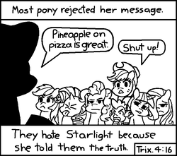 Size: 714x630 | Tagged: alicorn, applejack, artist:threetwotwo32232, black and white, blatant lies, chick tract, dialogue, disgusted, disgusting, dragon, eyes closed, fluttershy, food, grayscale, hair over one eye, hawaiian pizza, jack chick, jesus christ, lidded eyes, mane seven, mane six, meme, monochrome, most people rejected his message, open mouth, pineapple on pizza, pineapple pizza, pinkie pie, pixel art, pizza, pony, rainbow dash, rarity, religion, safe, shut up, spike, starlight glimmer, tongue out, trixie, twilight sparkle, twilight sparkle (alicorn)