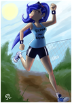 Size: 1600x2263 | Tagged: artist:alvh-omega, athletic shorts, blame my sister, clothes, converse, fence, human, humanized, magic shirt, princess luna, running, safe, shoes, sneakers, solo, sweatband, tanktop, tongue out