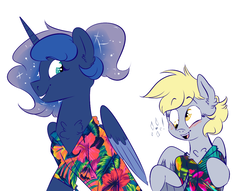 Size: 1200x919 | Tagged: safe, artist:soft-arthropod, derpy hooves, princess luna, pegasus, pony, blushing, chest fluff, clothes, derpyluna daily, female, hawaiian shirt, lesbian, lunaderp, mare, shipping, shirt, simple background, smiling, white background