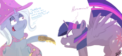 Size: 1600x733 | Tagged: safe, artist:bow2yourwaifu, trixie, twilight sparkle, alicorn, pony, unicorn, banter, behaving like a cat, cape, cheese, clothes, female, food, hat, hissing, mare, quesadilla, scared, simple background, they're just so cheesy, trixie's cape, trixie's hat, turophobia, twilight sparkle (alicorn), white background