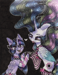 Size: 1615x2086 | Tagged: dead source, safe, artist:rinioshi, princess celestia, twilight sparkle, alicorn, pony, choker, clothes, colored, duo, ear fluff, goth, heart, holding hooves, piercing, ponymania, punklestia, socks, stockings, thigh highs, tongue out, tongue piercing, traditional art, twilight sparkle (alicorn), watercolor painting