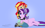 Size: 3750x2379 | Tagged: safe, artist:megaanimationfan, starlight glimmer, sunset shimmer, equestria girls, duo, gradient background, hug, human and pony, kneeling, lidded eyes, looking at each other, signature, smiling