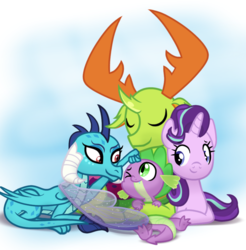 Size: 930x946   Tagged: safe, artist:changeling #209458, princess ember, spike, starlight glimmer, thorax, changedling, changeling, dragon, pony, unicorn, to where and back again, baby, baby dragon, claws, cuddling, cute, emberbetes, eyes closed, feet, female, folded wings, glimmerbetes, hilarious in hindsight, hug, king thorax, looking at each other, male, mare, noogie, one eye closed, one eye open, paws, prone, simple background, smiling, snuggling, spikabetes, spike appreciation day, spikelove, tail hug, tail wrap, thorabetes, transparent wings, wings