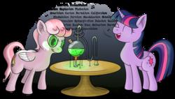 Size: 3832x2181 | Tagged: safe, artist:underwoodart, twilight sparkle, oc, alicorn, pegasus, pony, asapscience, bunsen burner, chemistry, condenser, distillation, eyes closed, flask, glass tube, periodic table, schlenk flask, science, singing, table, twilight sparkle (alicorn)