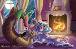 Size: 1625x1050 | Tagged: artist:falleninthedark, blushing, candle, carpet, discord, dislestia, eye contact, fire, fireplace, looking at each other, male, moon, night, patreon, patreon logo, photo, preglestia, pregnant, princess celestia, safe, shipping, smiling, straight, unshorn fetlocks, window