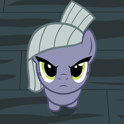 Size: 1421x1421 | Tagged: angry, artist:badumsquish, badumsquish's angry pones, behaving like a cat, >:c, cute, derpibooru exclusive, earth pony, female, frown, glare, grumpy, high angle, limabetes, limestone pie, looking at you, looking up, offscreen character, ponified animal photo, pony, pov, safe, solo