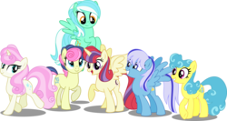 Size: 7000x3722 | Tagged: safe, artist:orin331, bon bon, lemon hearts, lyra heartstrings, minuette, moondancer, sweetie drops, twinkleshine, alicorn, pony, dancerverse, absurd resolution, alicornified, alternate hairstyle, alternate universe, flying, grin, group, looking at you, looking back, looking down, moondancercorn, open mouth, race swap, raised hoof, raised leg, simple background, smiling, spread wings, transparent background, vector