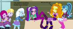 Size: 1782x712 | Tagged: safe, artist:fureox, artist:givralix, artist:mewtwo-ex, artist:themexicanpunisher, adagio dazzle, aria blaze, fuchsia blush, lavender lace, sonata dusk, trixie, equestria girls, rainbow rocks, alicorn amulet, boots, clothes, dialogue, female, high heel boots, hoodie, jewelry, misspelling, necklace, pigtails, ponytail, skirt, socks, the dazzlings, trixie and the illusions, twintails