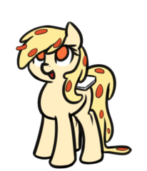 Size: 914x1065 | Tagged: artist:neuro, delivery, food, food pony, looking up, oc, oc only, open mouth, original species, pizza, pizza pony, safe, simple background, solo, transparent background