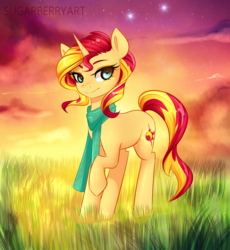Size: 2300x2500 | Tagged: safe, artist:sugarberry, sunset shimmer, pony, unicorn, clothes, cloud, cloudy, color porn, colored, commission, detailed, female, grass, lidded eyes, looking at you, raised hoof, scarf, scenery, smiling, solo, stars, sunset, twilight (astronomy)