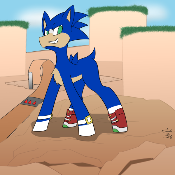 Size: 1920x1920 | Tagged: artist:glassmenagerie, earth pony, green hill zone, ponified, safe, smiling, smirk, solo, sonic the hedgehog, sonic the hedgehog (series)