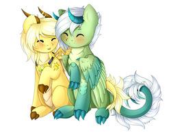 Size: 3997x3097   Tagged: safe, artist:sweesear, oc, oc only, oc:arita, oc:nisa, dracony, hybrid, cute, high res, hug, shipping, tail hug