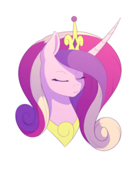 Size: 2400x3000   Tagged: safe, artist:souladdicted, princess cadance, crown, curved horn, eyes closed, jewelry, regalia, simple background, solo