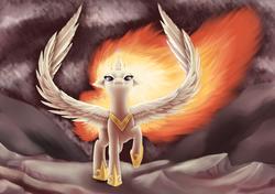 Size: 2914x2055   Tagged: safe, artist:ellen124, nightmare star, princess celestia, floppy ears, glare, looking at you, mane of fire, raised hoof, solo, spread wings