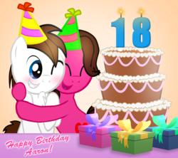 Size: 2540x2260   Tagged: safe, artist:aarondrawsarts, oc, oc only, oc:brain teaser, oc:rose bloom, pony, birthday, birthday cake, brainbloom, cake, chest fluff, cuddling, food, happy birthday, hug, male, oc x oc, shipping, snuggling, straight