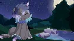Size: 3871x2136 | Tagged: safe, artist:xsidera, oc, oc only, original species, pond pony, eyes closed, high res, male, moon, night, solo, stallion, tree
