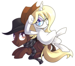 Size: 1452x1280 | Tagged: safe, artist:drawntildawn, oc, oc only, oc:ace swift, oc:novella price, clothes, duo, glasses, hat, scarf