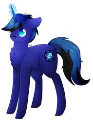 Size: 705x924 | Tagged: safe, artist:twinkepaint, oc, oc only, oc:nightskies, pony, unicorn, chest fluff, male, one eye closed, simple background, solo, stallion, white background