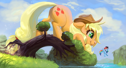 Size: 1920x1041   Tagged: safe, artist:imalou, applejack, rainbow dash, earth pony, pegasus, pony, big pony, big-apple-pony, cloud, commission, cowboy hat, cute, duo, face down ass up, flying, giant pony, hat, jackabetes, looking at each other, looking back, macro, never doubt ncmares's involvement, size difference, sky, smiling, stetson, sunglasses, surprised, tree