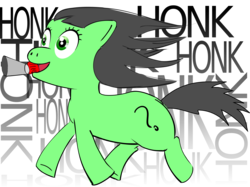 Size: 1918x1435 | Tagged: artist:zenco, earth pony, female, filly, floppy ears, happy, honk, honk honk, horn, mouth hold, oc, oc:filly anon, oc only, open mouth, pony, running, safe, simple background, smiling, solo, transparent background, windswept mane