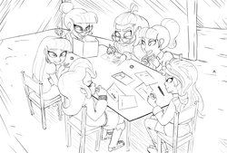 Size: 2039x1377 | Tagged: artist:helloiamyourfriend, black and white, counterparts, drawthread, dungeons and dragons, equestria girls, glasses, grayscale, lineart, /mlp/, monochrome, moondancer, rpg, safe, sci-twi, starlight glimmer, sunset shimmer, trixie, twilight's counterparts, twilight sparkle, twolight