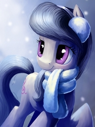 Size: 899x1200 | Tagged: safe, artist:camyllea, octavia melody, earth pony, pony, clothes, cute, earmuffs, featured image, female, mare, raised hoof, scarf, smiling, snow, snowfall, solo, tavibetes